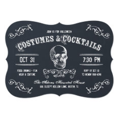 Chalkboard Skull Halloween Cocktail Party Card at Zazzle