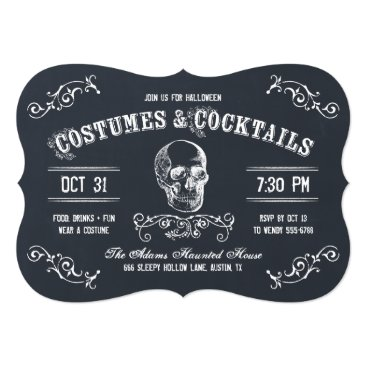 Halloween Themed Chalkboard Skull Halloween Cocktail Party Card