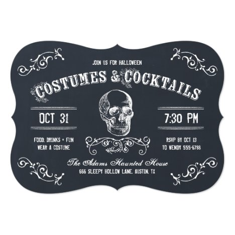Chalkboard Skull Halloween Cocktail Party Card