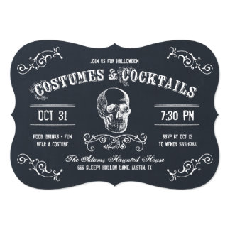 Chalkboard Skull Halloween Cocktail Party 5x7 Paper Invitation Card