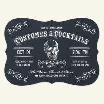 Chalkboard Skull Halloween Cocktail Party Invitation