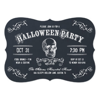 Chalkboard Skull Halloween Costume Party 5x7 Paper Invitation Card