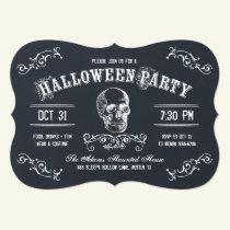Chalkboard Skull Halloween Costume Party Invitation