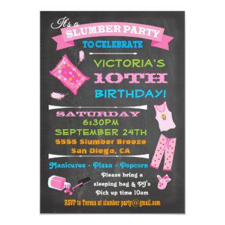 Chalkboard Sleepover Slumber Party Spa Birthday 5x7 Paper Invitation Card