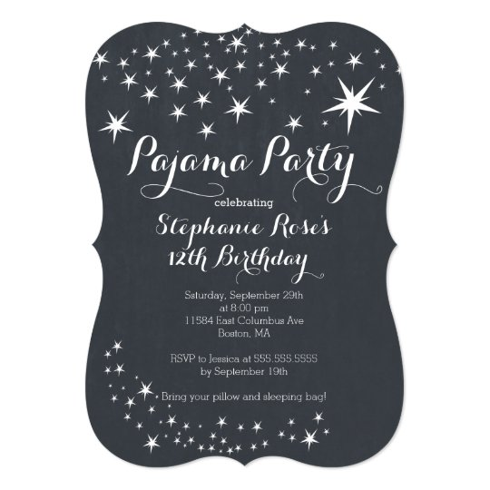 chalkboard slumber party birthday party invitation | zazzle, Party invitations