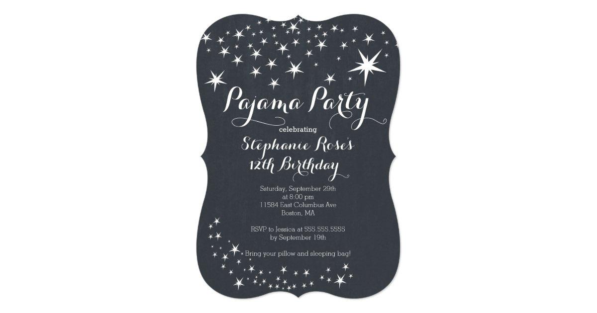 Chalkboard Slumber Party Birthday Party Invitation   Zazzle.com