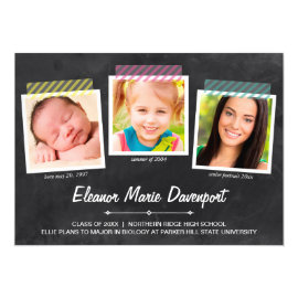 Chalkboard Snapshots | Photo Graduation Party 5x7 Paper Invitation Card by dulceevents at Zazzle