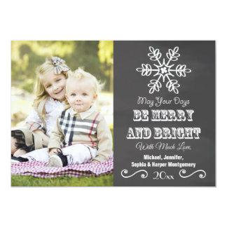 Chalkboard Snowflake Holiday Photo Card Custom Invite