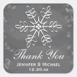 Chalkboard Snowflake Thank You Label Square Sticker