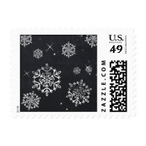 chalkboard snowflakes festive winter holiday stamp