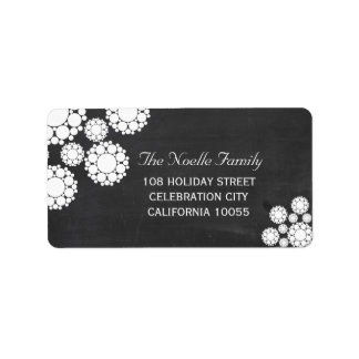 Chalkboard Snowflakes Flowers Holiday Labels
