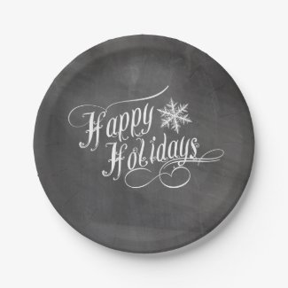 Chalkboard Snowflakes | Happy Holidays 7 Inch Paper Plate