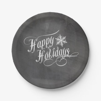Chalkboard Snowflakes | Happy Holidays Paper Plate