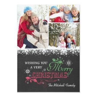 Chalkboard Snowflakes Three Photo Christmas Card