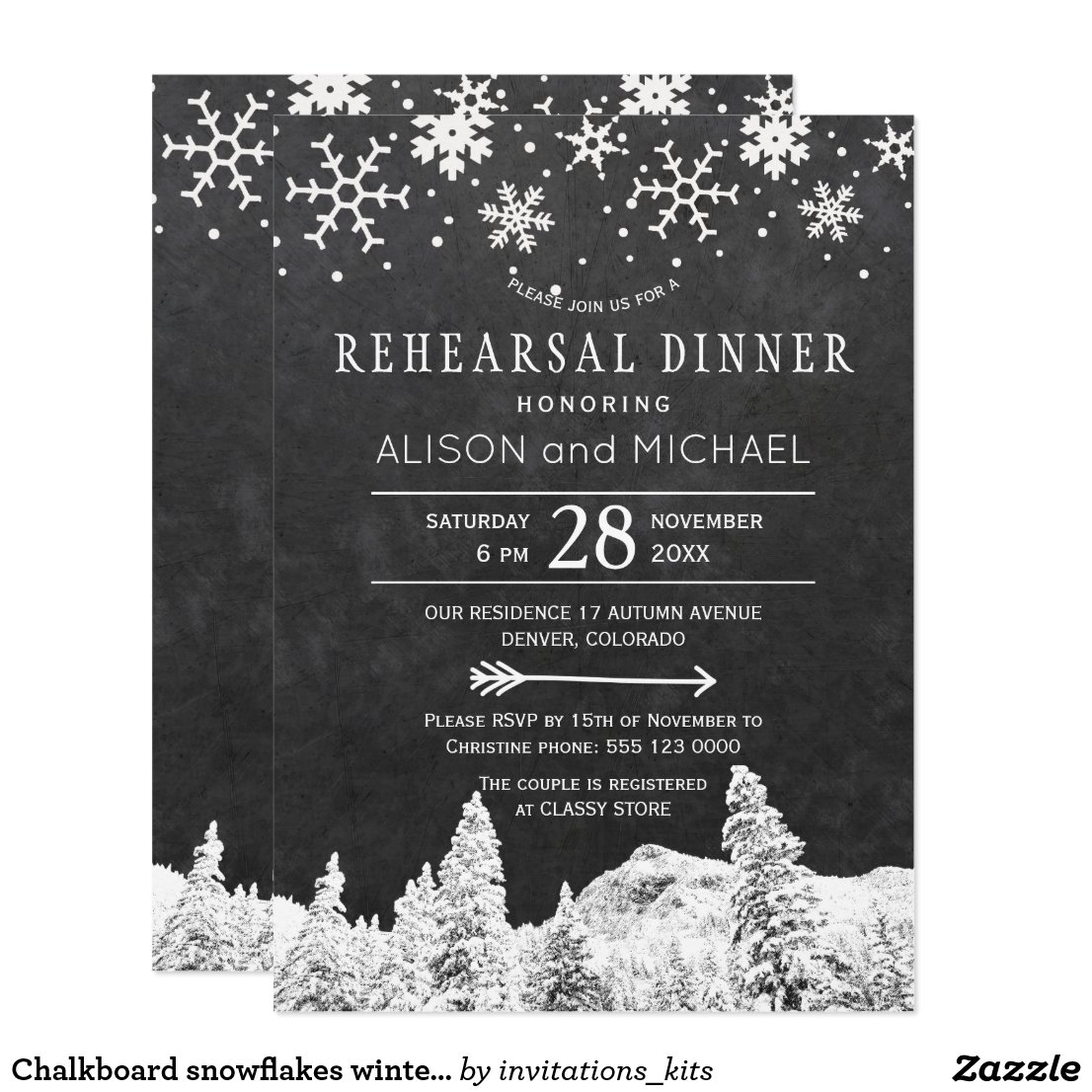 Chalkboard snowflakes winter rehearsal dinner invitation