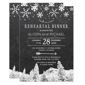 Chalkboard snowflakes winter rehearsal dinner invitation