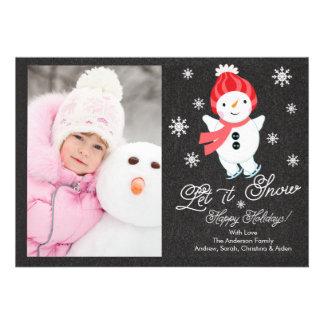 Chalkboard Snowman Family Photo Christmas Card