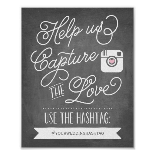 Chalkboard Social Media Hashtag Wedding Decor