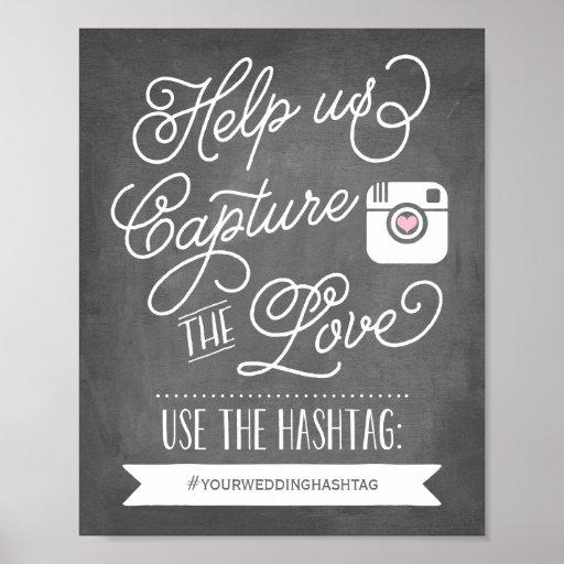 Chalkboard Social Media Hashtag Wedding Decor