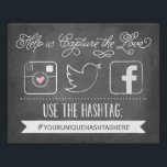 "Chalkboard Social Media Hashtag | Wedding Decor<br><div class=""desc"">This hashtag sign says &quot;Help us capture the love. Use the hashtag... &quot; with a spot for you to personalize with your own custom hashtag, all on a chalkboard background. Featuring drawn social media icons for your guests to share your special event with you. Help capture photos from all of...</div>"