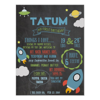 Chalkboard Spaceship personalized 1 year poster
