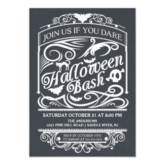Chalkboard Spooky Gothic Halloween Invitation