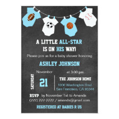 Chalkboard Sports Little All-star Baby Shower Card at Zazzle