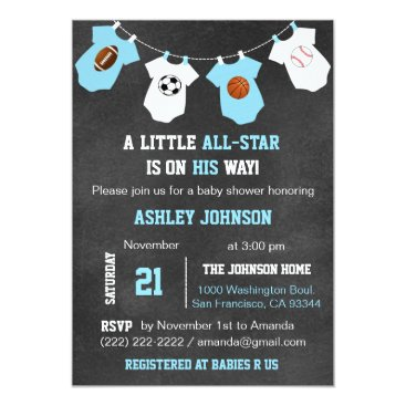 Toddler & Baby themed Chalkboard Sports Little ALL-STAR Baby Shower Card