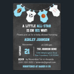 "Chalkboard Sports Little ALL-STAR Baby Shower Invitation<br><div class=""desc"">Awesome and unique sports theme little ALL-STAR baby shower invitations for boys.  Football,  soccer,  basketball and baseball on chalkboard background and hanging baby jumpsuits.  Blue and white colors.  Editable text. Get matching stickers!</div>"