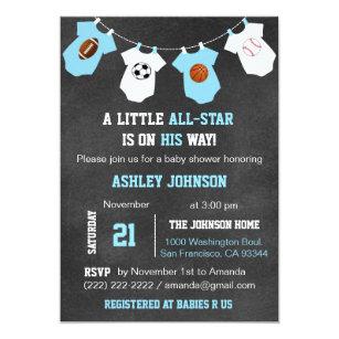 Chalkboard Sports Little ALL STAR Baby Shower Invitation