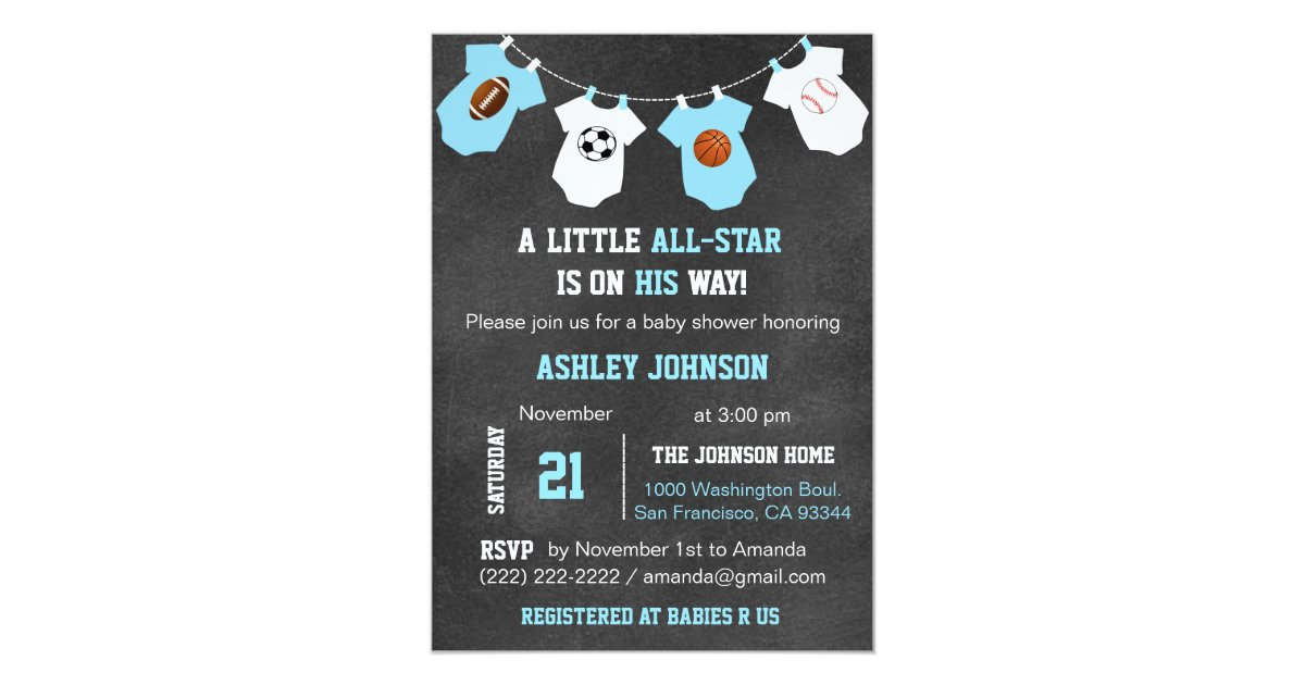 Chalkboard Sports Little ALL-STAR Baby Shower Invitation | Zazzle.com