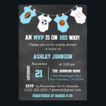 "Chalkboard Sports Theme Baby Shower Invitations<br><div class=""desc"">Awesome and unique sports theme baby shower invitations for boys.  Football,  soccer,  basketball and baseball on chalkboard background and hanging baby jumpsuits.  Blue and white colors.  Invitation templates. Editable text. Get matching stickers!</div>"
