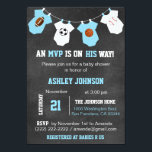 """Chalkboard Sports Theme Baby Shower Invitations<br><div class=""""desc"""">Awesome and unique sports theme baby shower invitations for boys.  Football,  soccer,  basketball and baseball on chalkboard background and hanging baby jumpsuits.  Blue and white colors.  Invitation templates. Editable text. Get matching stickers!</div>"""