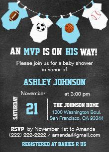 Chalkboard Sports Theme Baby Shower Invitations