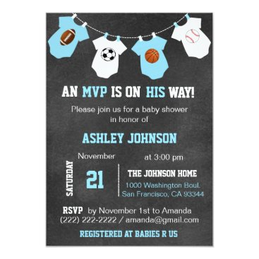 Toddler & Baby themed Chalkboard Sports Theme Baby Shower Invitations