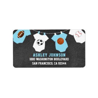 Chalkboard Sports Theme Blue Boy Baby Shower Label