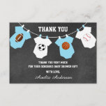 """Chalkboard Sports Theme THANK YOU baby shower<br><div class=""""desc"""">Lovely thank you note cards for a sports theme baby shower. Chalkboard background with hanging baby clothes with football, soccer, basketball and baseball. Blue turquoise and white colors. BACK OF CARD is WHITE - so you can add an additional handwritten personal note! Get matching items in collection &quot;SPORTS THEME BABY...</div>"""