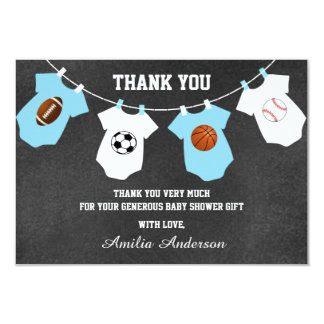 Chalkboard Sports Theme THANK YOU baby shower Card