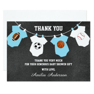 Sports baby shower invitations announcements zazzle chalkboard sports theme thank you baby shower card filmwisefo Gallery