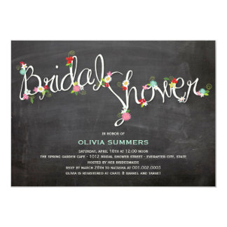 Chalkboard Spring Flowers Bridal Shower Invite Personalized Invites