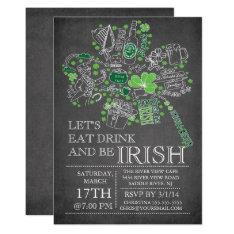 Chalkboard St. Patrick's Day Bash Dinner Party Card at Zazzle