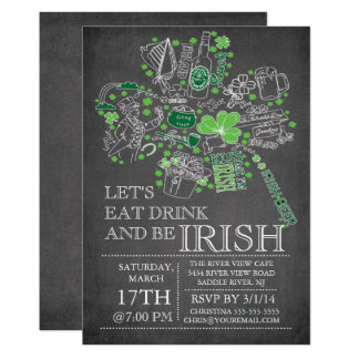 Chalkboard St. Patrick's Day Bash Dinner Party Card