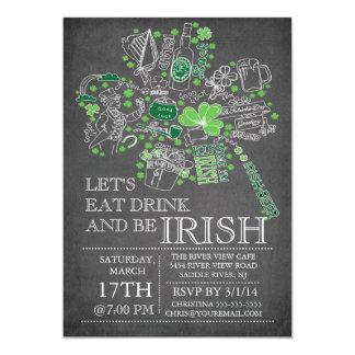 Chalkboard St. Patrick's Day Bash Dinner Party Card