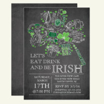 Chalkboard St. Patrick's Day Bash Dinner Party Invitation