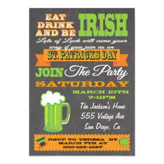 Chalkboard St. Patrick's Day Party Invitation