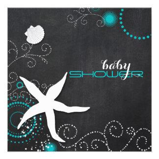 Chalkboard Starfish Beach Baby Shower Invitations