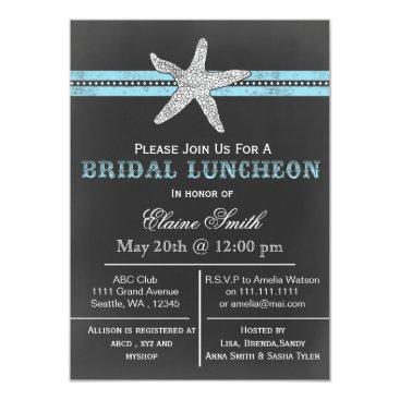 Beach Themed chalkboard starfish beach Bridal shower Invite