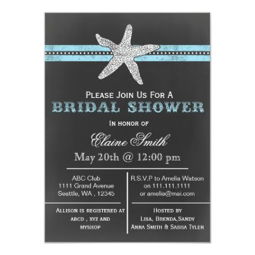 Beach Themed chalkboard starfish beach Bridal shower Invite