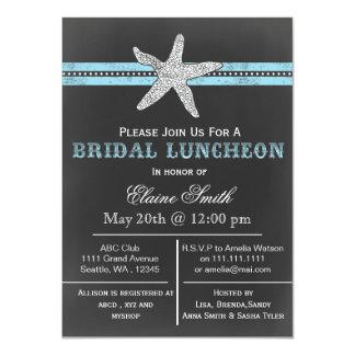 "chalkboard starfish beach Bridal shower Invite 4.5"" X 6.25"" Invitation Card"