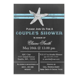 chalkboard starfish beach Couple's shower Invite